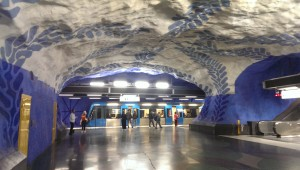 stockholm subway station blue line cave look exposed bedrock