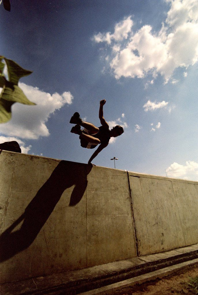 Top travel blog Half the Clothes author Jema Patterson took a parkour class while attending circus school in Vermont
