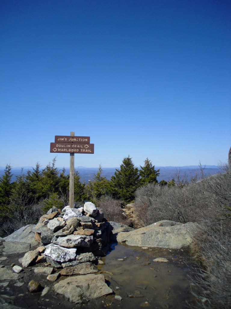 Jim's Junction at the top of Mt. Monadnock as seen when visited by top travel blog Half the Clothes' author Jema Patterson