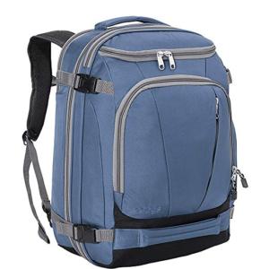 Front of a Tls mother load 54 liter backpack in blue with no hip belt