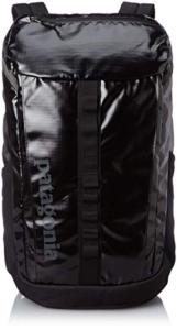 Black water resistant Patagonia black hole 28 liter backpack front
