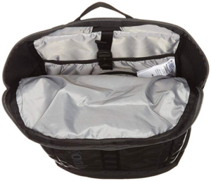 Patagonia Black hole 28 with the top pocket un-zipped displaying the interior