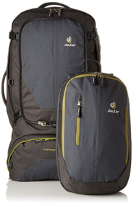 Deuter Transit 50 liter travel backpack with detachable day pay shown