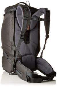 Back of the Deuter transit 50 liter backpack with sternum strap and padded hip belt
