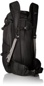 Black Pacsafe Venture 30 liter backpack hip belt and sternum strap