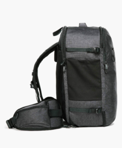 Black and grey Tortuga setout side view with hip belt and sternum strap
