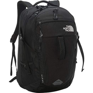 zipped up North Face surge womens backpack in black