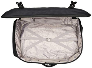 Interior of Pacsafe Vibe 40 liter backpack un-zipped