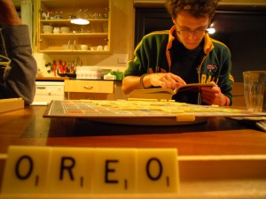 We let Pierrick use a dictionary for his first-ever Scrabble game. He beat us by miles!