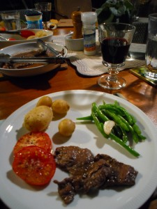 Kangaroo steak, garden beans and slow-roasted tomatoes, local dutch cream potatoes, local wine = happy, happy Jema.