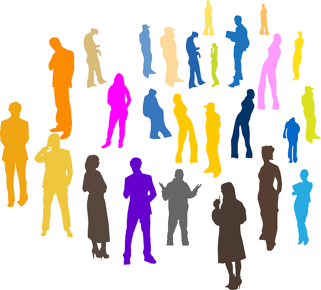 lots of various colored silhouettes of people