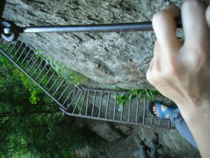 looking down rebar ladder spain catalonia catalunya espana peak puig