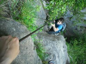 man climbing with rebar assists in catalonia spain catalunya espana