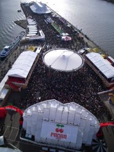 Ferris-wheel view of the festival fun.