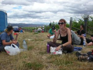 Lunch time at a vineyard staffed by backpackers like the ones you'll meet on your Australia Working Holiday Visa
