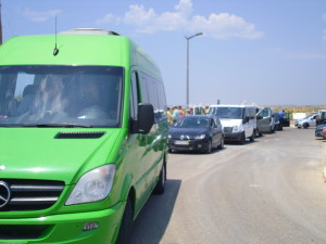 green van and other vehicles