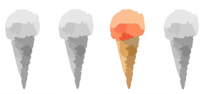 slow travel blog advocates the slow travel experience by using four ice cream cones - three alike - to show the attractiveness of variety visually