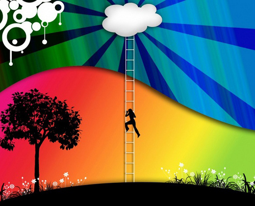 getting a job while traveling is as hard as climbing a ladder like this silhouette guy