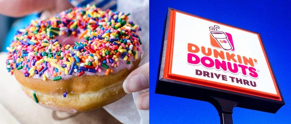 dunkin donuts doughnut with rainbow sprinkles dunkin donuts sign