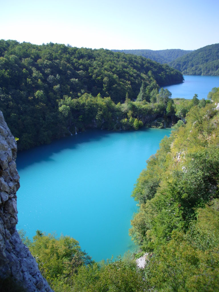 looking down the plitvice lake gorge