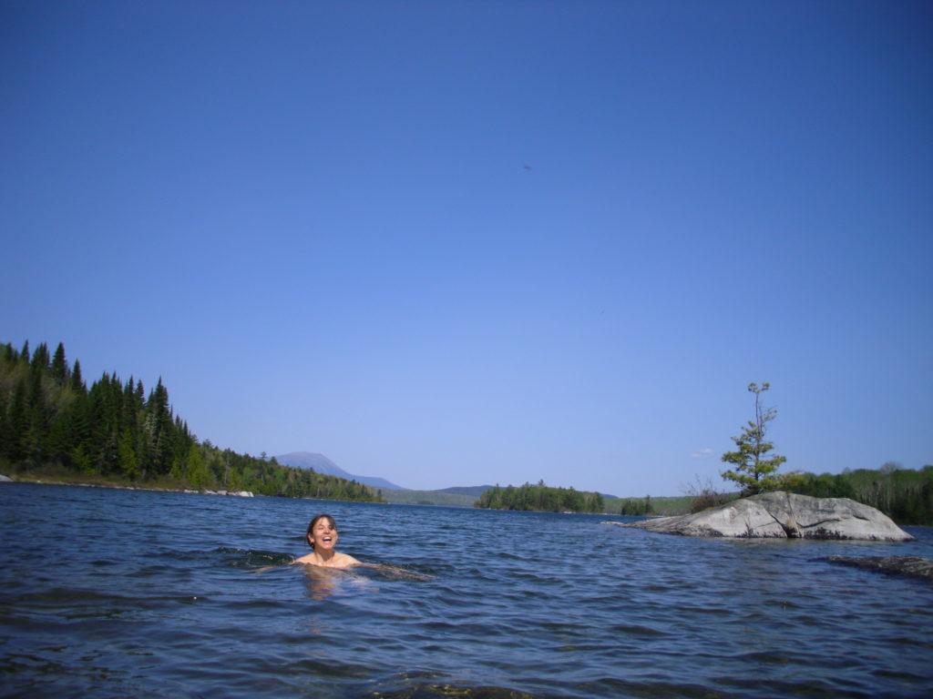 rainbow lake swimming mt. kathadin