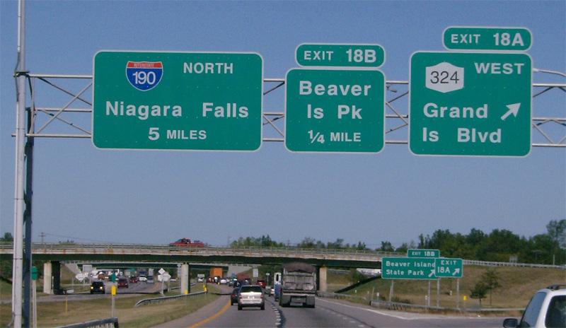 niagra falls interstate road sign