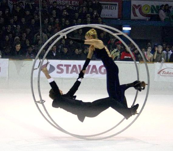 German wheel on ice - a far more professional scenario than ever attempted or even dreamed about by top travel blog Half the Clothes' author Jema Patterson