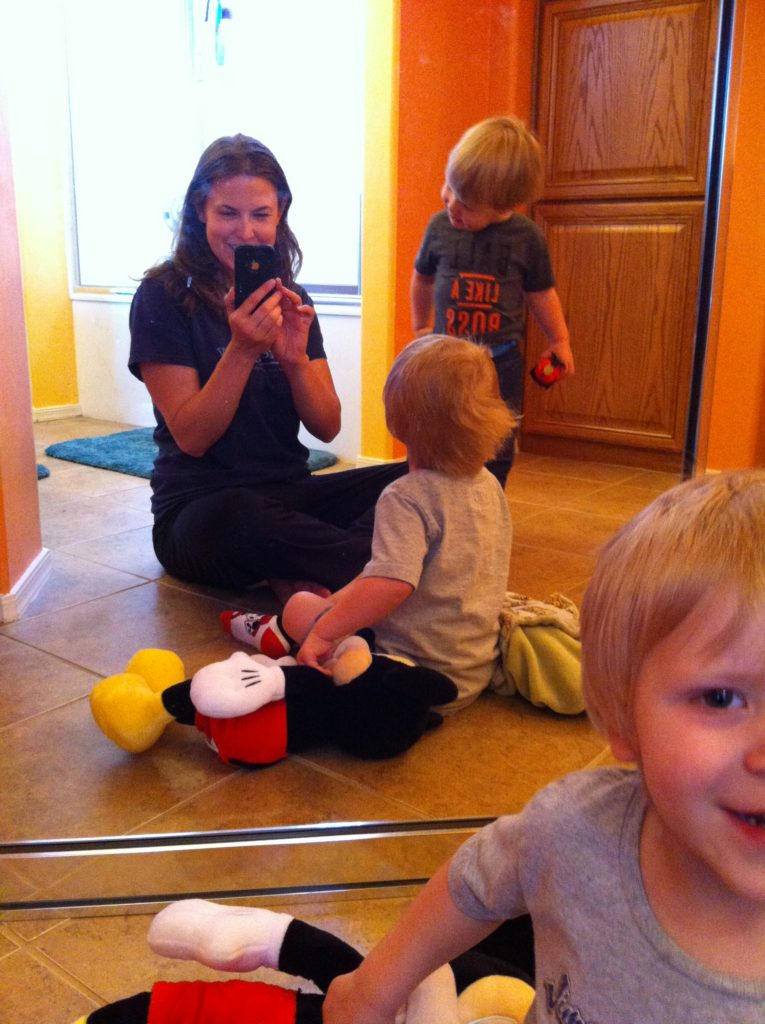 Birthday/Christmas/Occasion gifts stopped making sense to me at a pretty young age. So what did I get my sister for her birthday? Childcare. These boys loved the camera-mirrors game. Not pictured: cleaning up so much urine. So much.