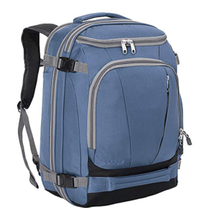 Front of a Tls mother load 54 liter backpack in blue with no hip belt