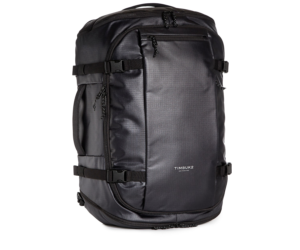 Black water resistant Timbuk2 40 liter travel backpack