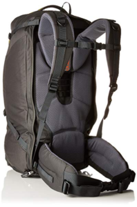 Back of the Deuter transit 50 liter backpack with sternum strap and padded hip belt