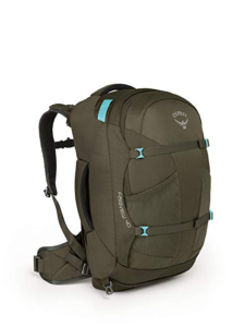 Women's Osprey 40 liter Backpack, showing the hip belt sternum strap and outside pockets