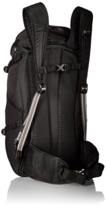 Black Pacsafe Venture 30 liter backpack hip belt and sternum strap
