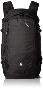 Front of Pacsafe Venture X30 in black, showing the external pockets