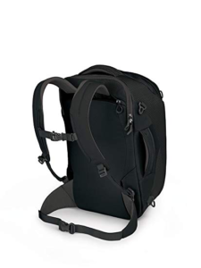 Black Osprey Porter 30, with a hip belt and sternum strap, for weight distribution and support