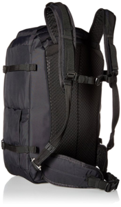 Black pacsafe vibe 40 with sternum strap and hip belt